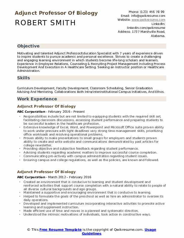 Adjunct Professor Resume Samples | QwikResume