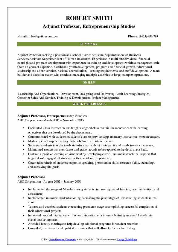 adjunct professor resume samples