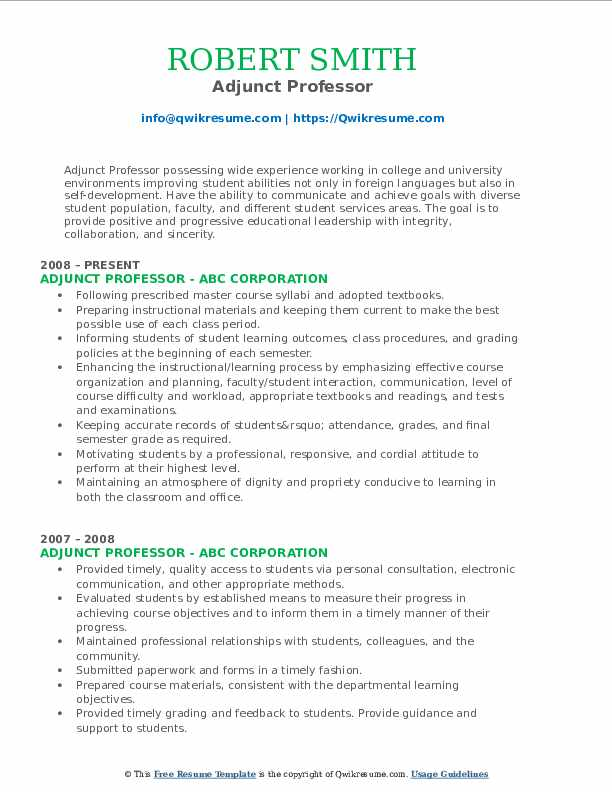 Adjunct Professor Resume Samples Qwikresume