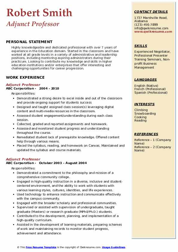 Cover Letter For Adjunct Professor Position No Teaching Experience from assets.qwikresume.com