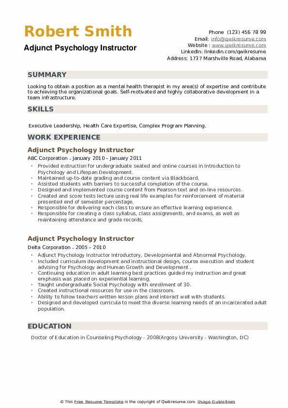 Adjunct Psychology Instructor Resume example