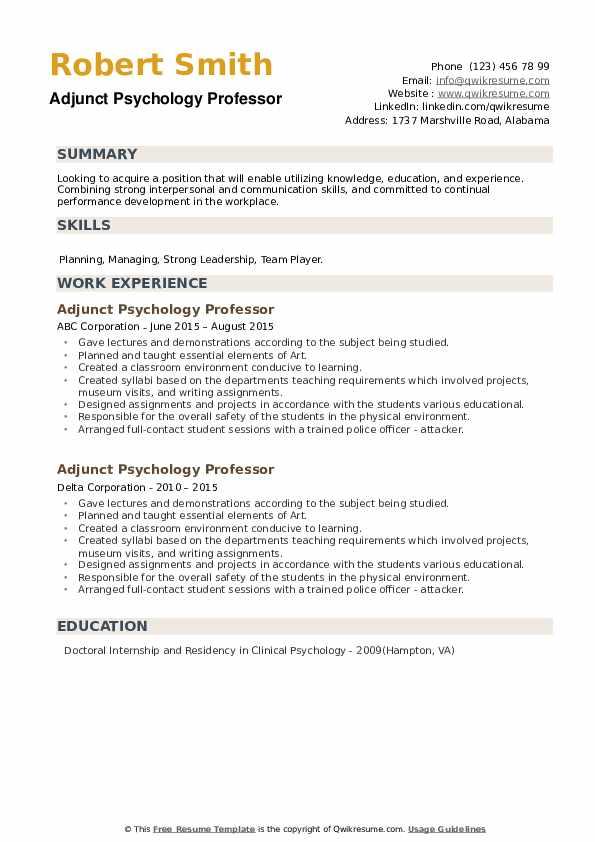 Adjunct Psychology Professor Resume example