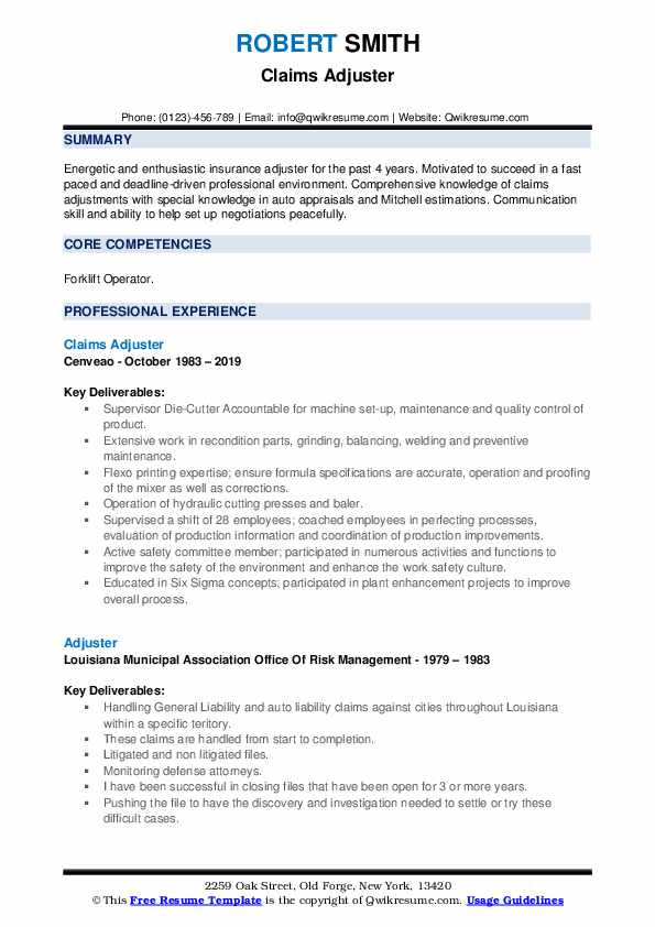 Claims Adjuster Resume Example