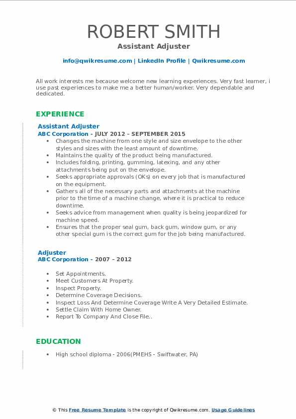 Assistant Adjuster Resume Template