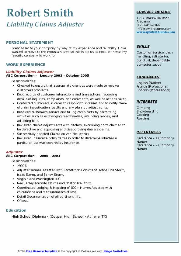 Liability Claims Adjuster Resume Sample