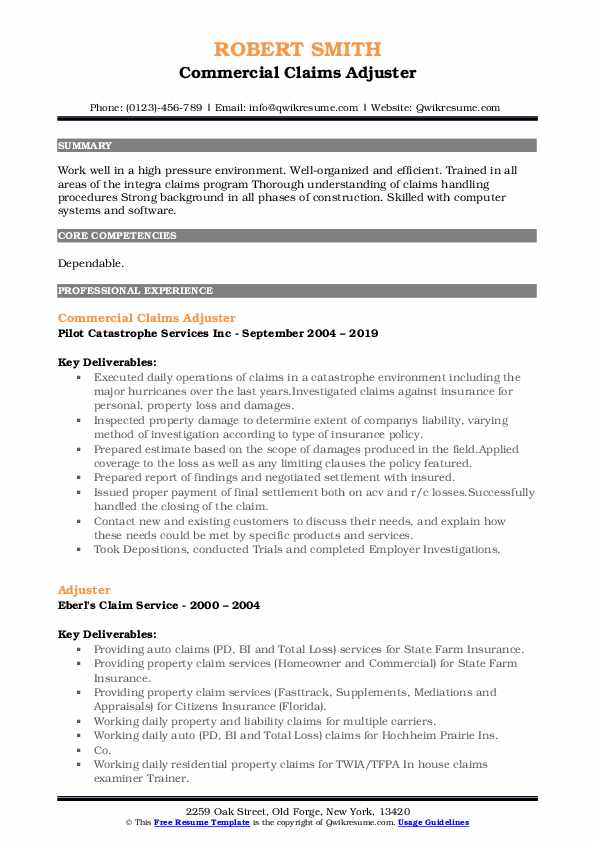 Commercial Claims Adjuster Resume Model