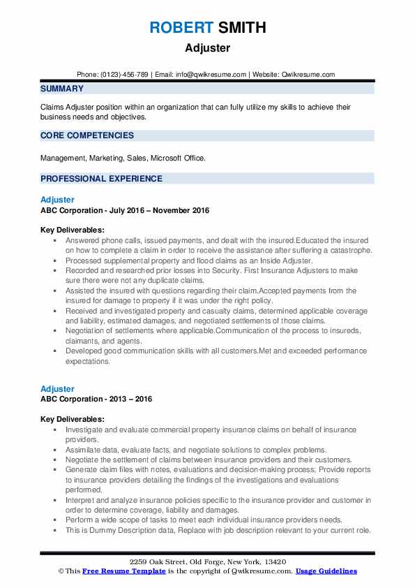 Adjuster Resume example