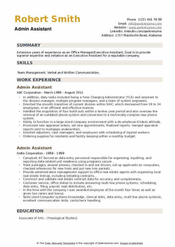 admin assistant resume samples  qwikresume