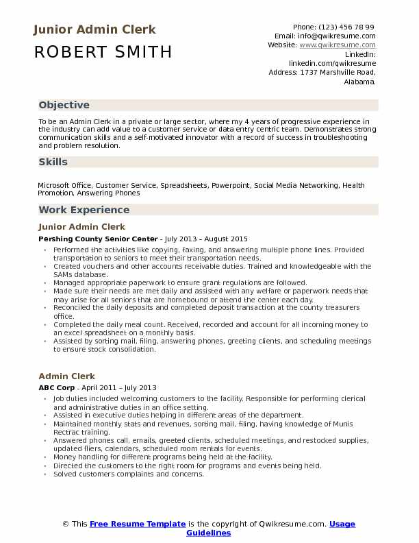 Junior Admin Clerk  Resume Template