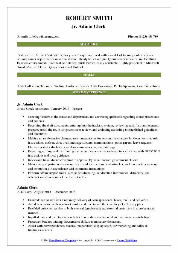 Jr. Admin Clerk  Resume Template