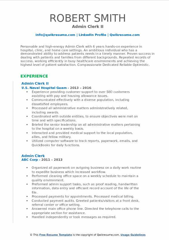 Admin Clerk II Resume Sample