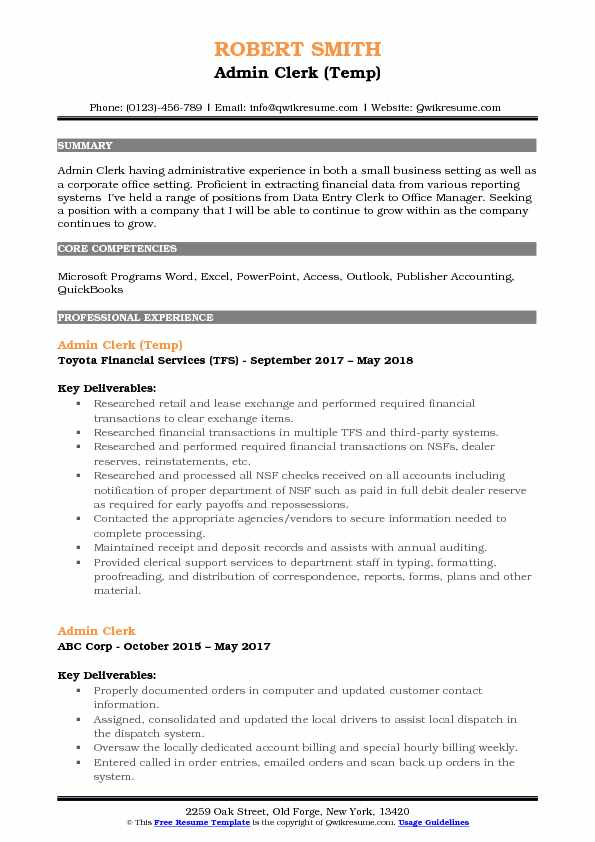 Admin Clerk (Temp) Resume Model