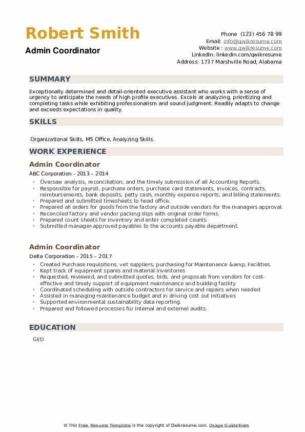 Admin Coordinator Resume example