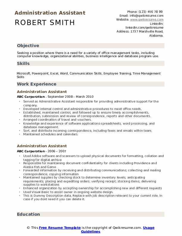 Administration Assistant Resume Sample