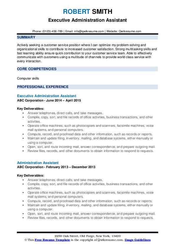 Executive Administration Assistant Resume Sample