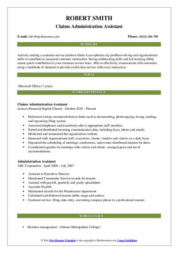 Claims Administration Assistant Resume Example