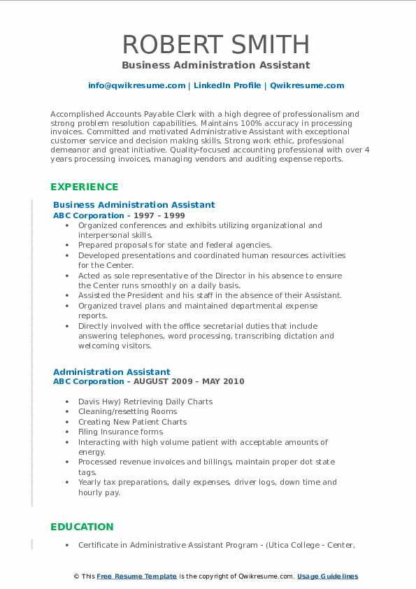 Business Administration Assistant Resume Template