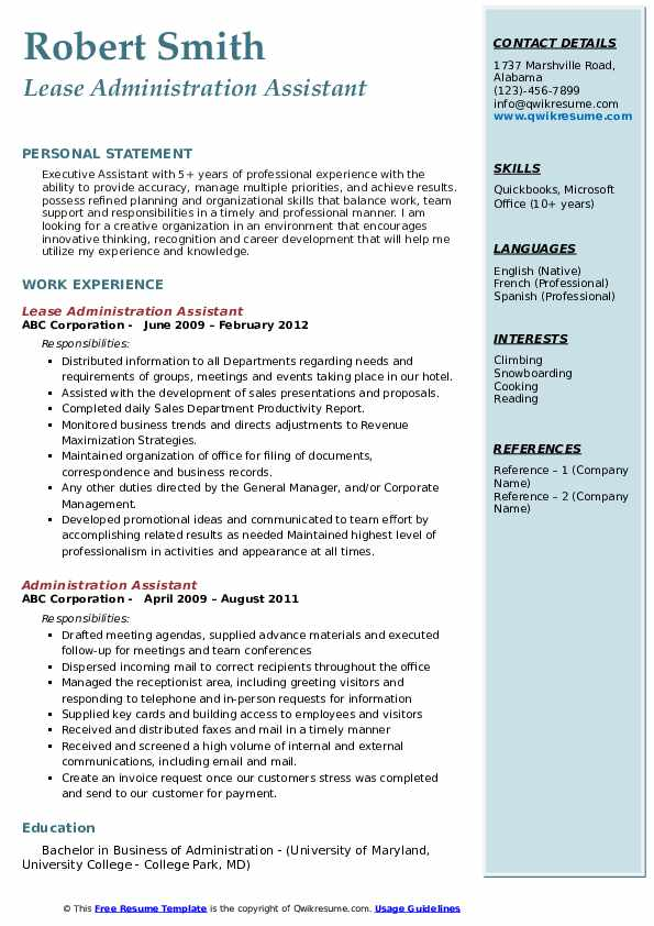 Lease Administration Assistant Resume Template