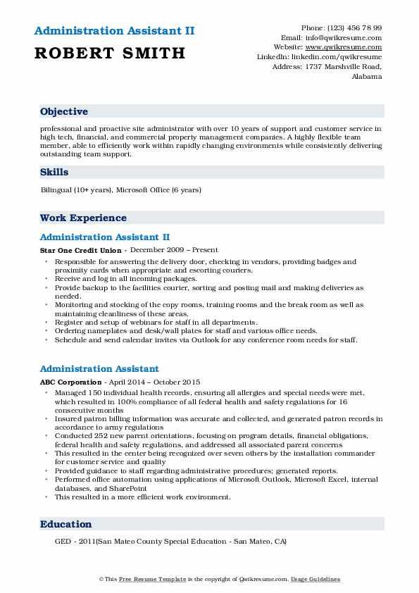 Administration Assistant II Resume Model