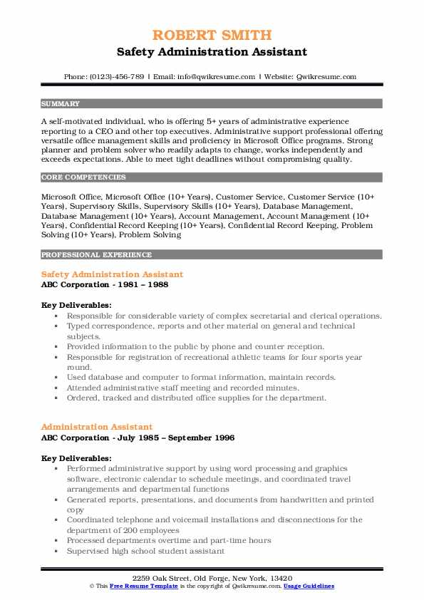 Safety Administration Assistant Resume Model