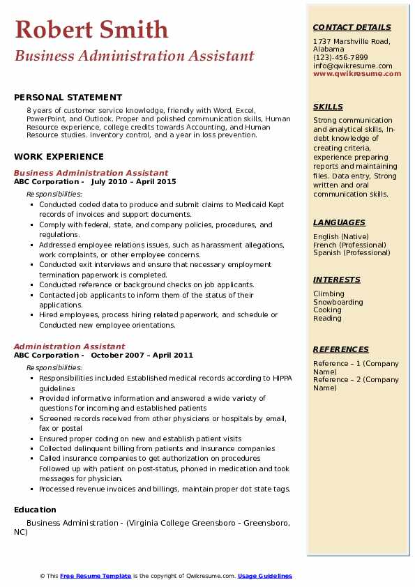 Business Administration Assistant Resume Example