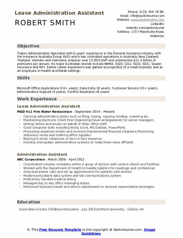 Lease Administration Assistant Resume Example