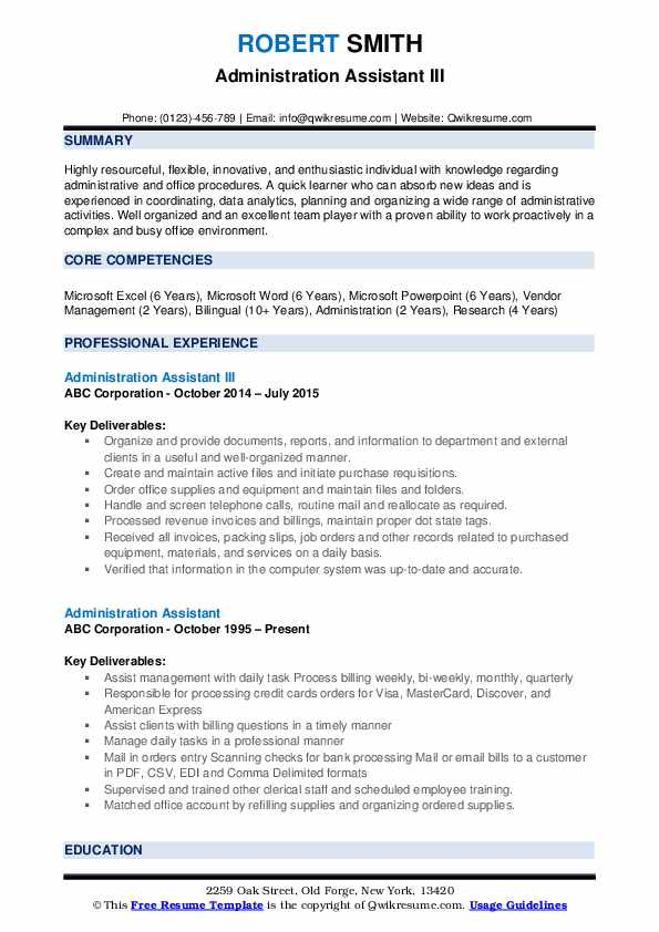 Administration Assistant III Resume Format