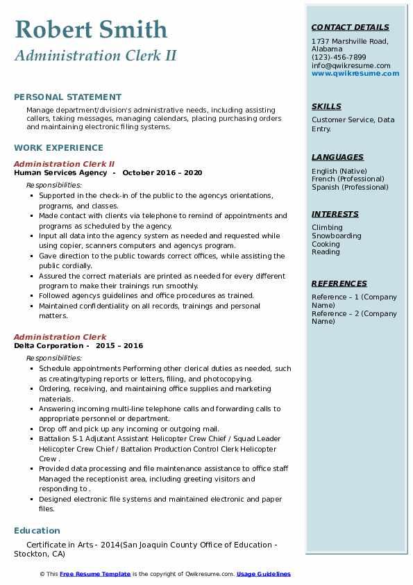 administration clerk resume samples  qwikresume