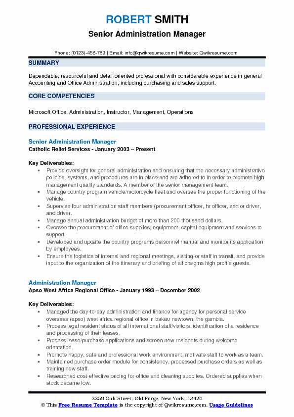 Senior Administration Manager Resume Format