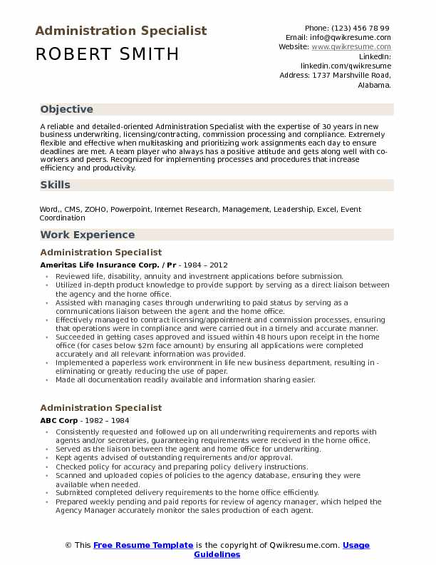 Administration Specialist Resume Model