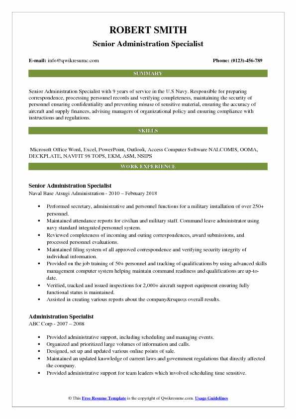 Senior Administration Specialist Resume Example