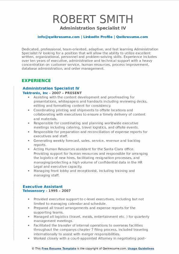 Administration Specialist IV Resume Sample