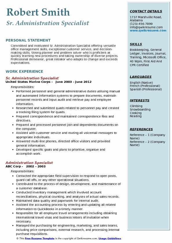 Sr. Administration Specialist Resume Example