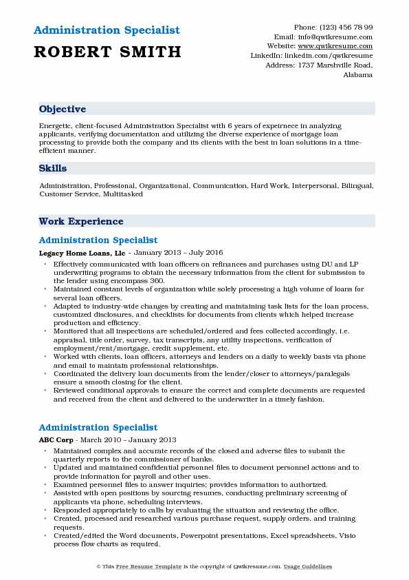 Administration Specialist Resume Sample
