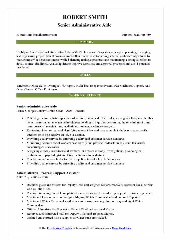 Senior Administrative Aide  Resume Template