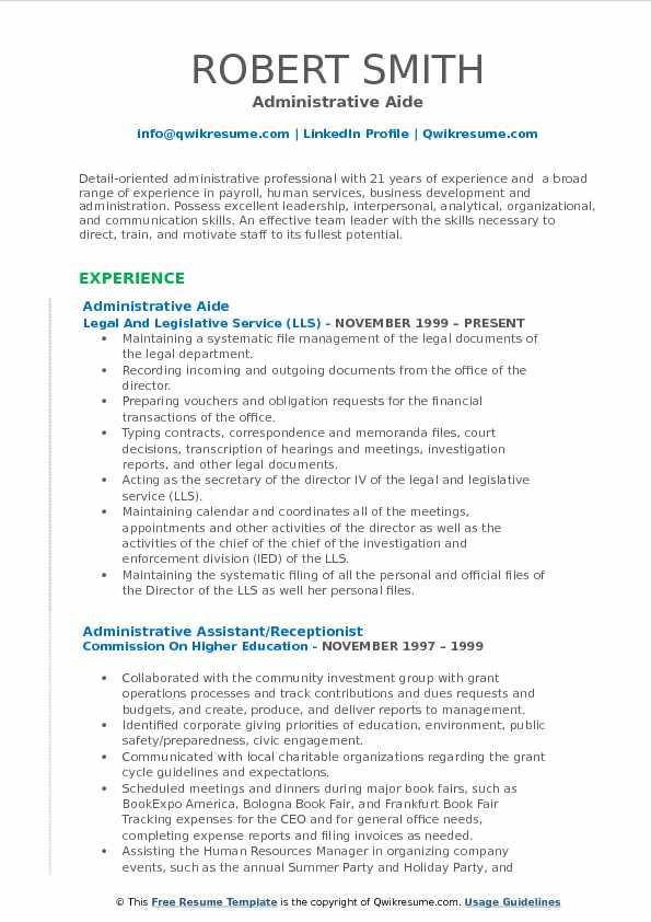 Administrative Aide Resume Example