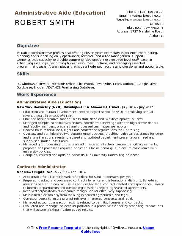 Administrative Aide (Education) Resume Template