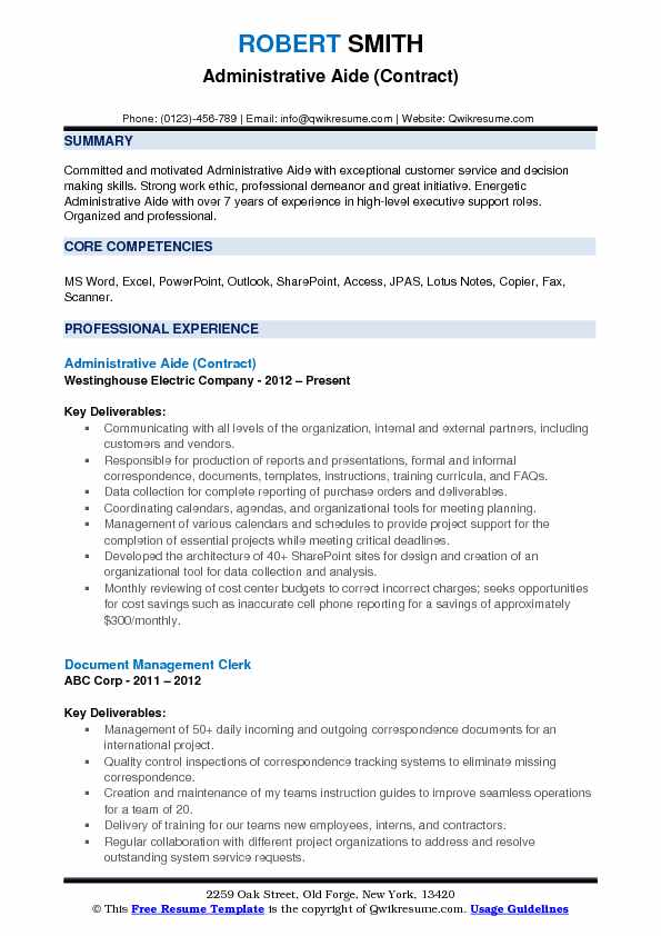 Administrative Aide (Contract) Resume Template