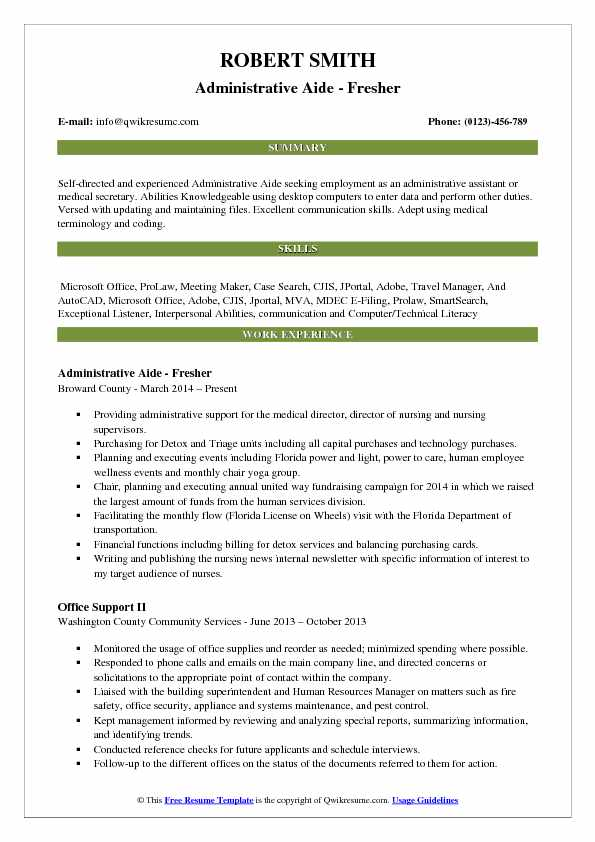 Administrative Aide - Fresher Resume Model
