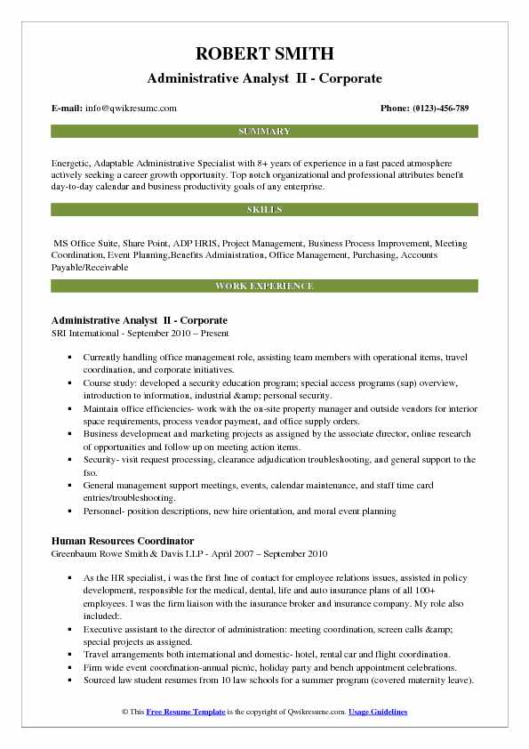 Administrative Analyst II   Corporate Resume Format