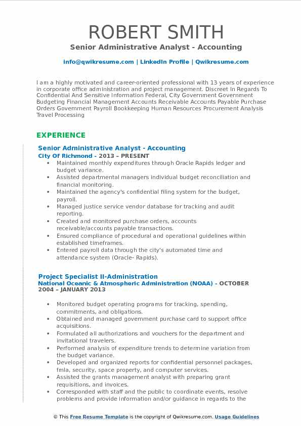 Administrative Analyst Resume Samples Qwikresume