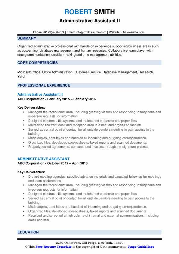 Administrative Assistant II Resume Sample