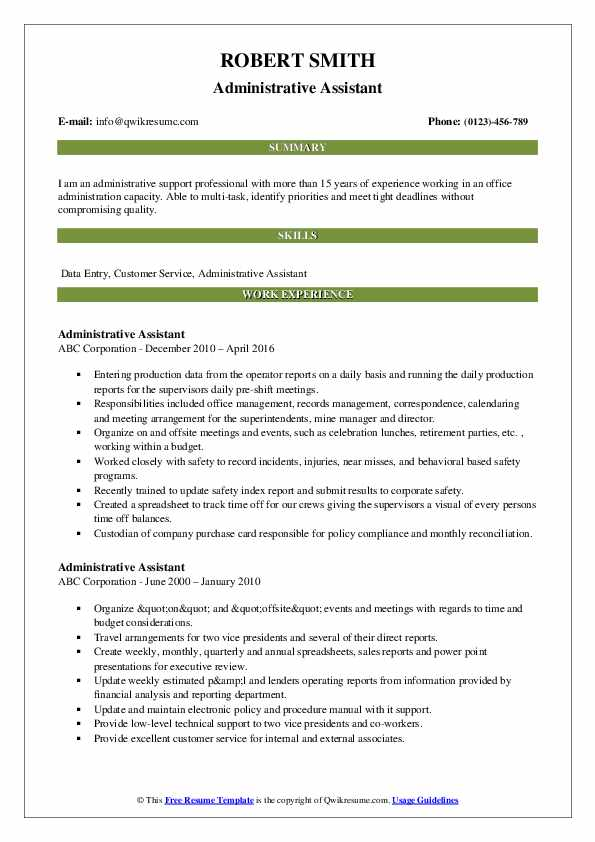 Administrative Assistant Resume Model