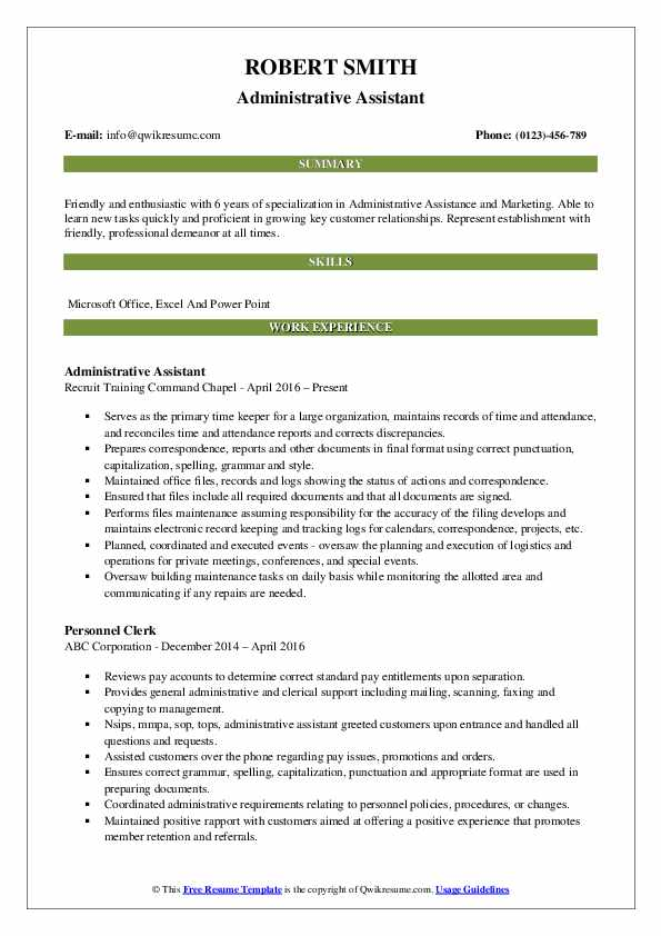 Administrative Assistant Resume Format