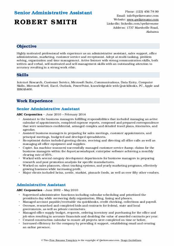 Senior Administrative Assistant Resume Format