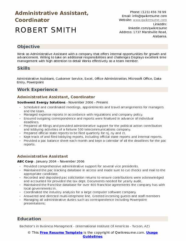 Administrative Assistant, Coordinator Resume Sample