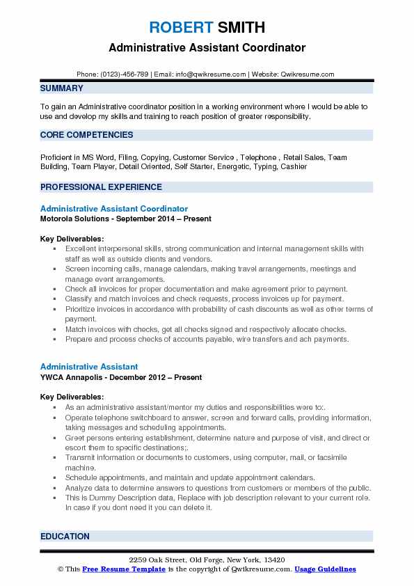 Administrative Assistant Coordinator Resume Sample
