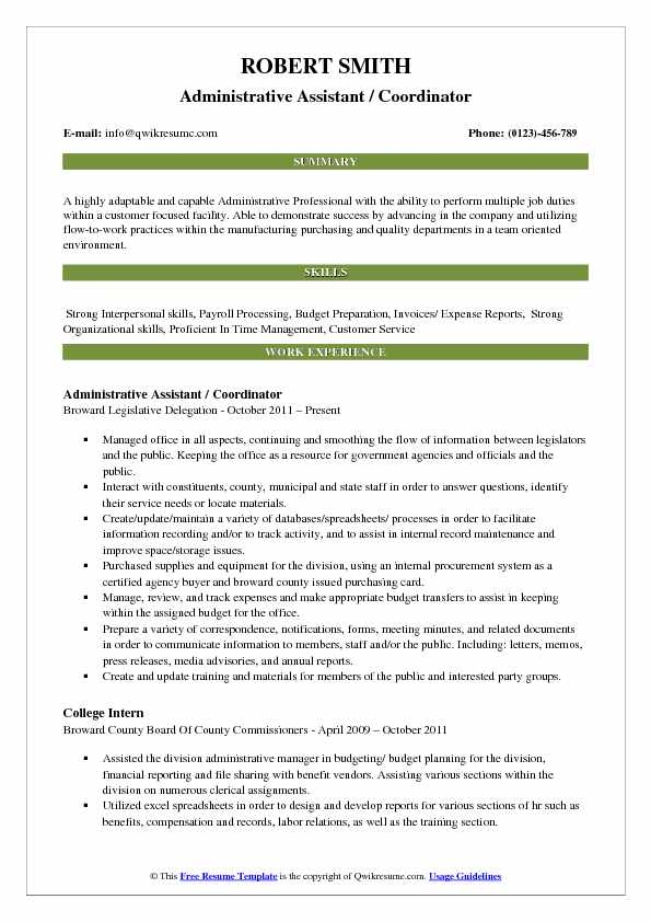 Administrative Assistant / Coordinator Resume Example