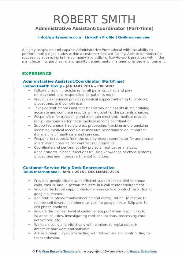 Administrative Assistant/Coordinator (Part-Time) Resume Model