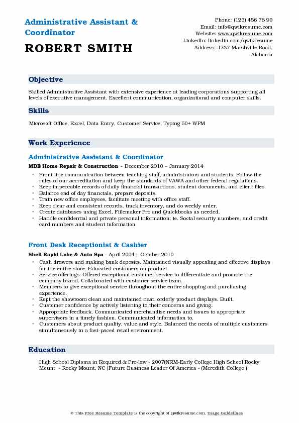 Administrative Assistant & Coordinator Resume Sample